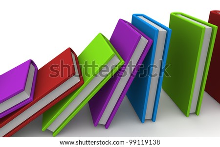 3D render of a falling row of colorful books form, as domino reaction