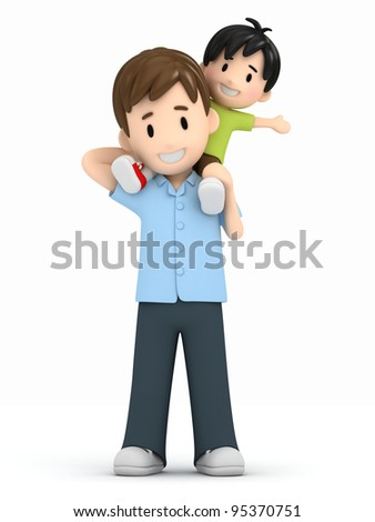 3d render of a father and son - stock photo