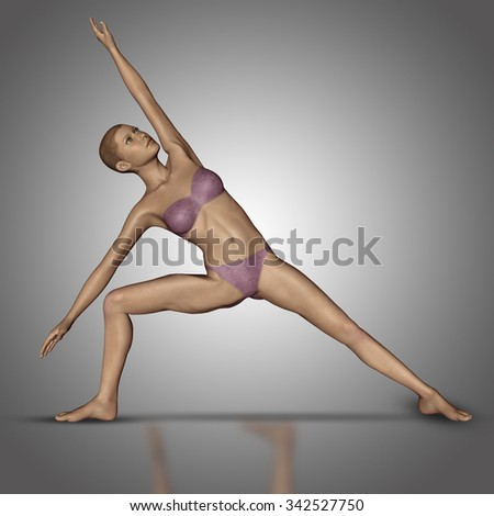 3D render of a female figure in a yoga standing position