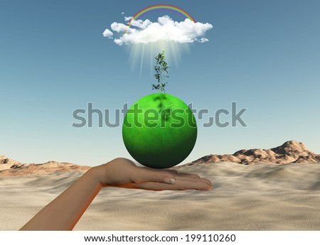 3D render of a female hand holding a grassy globe with seedling under a cloud and rainbow against a desert background - stock photo