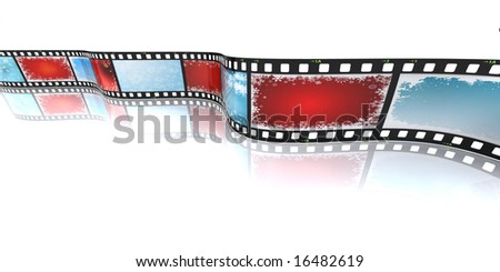 3D render of a filmstrip with Christmas backgrounds