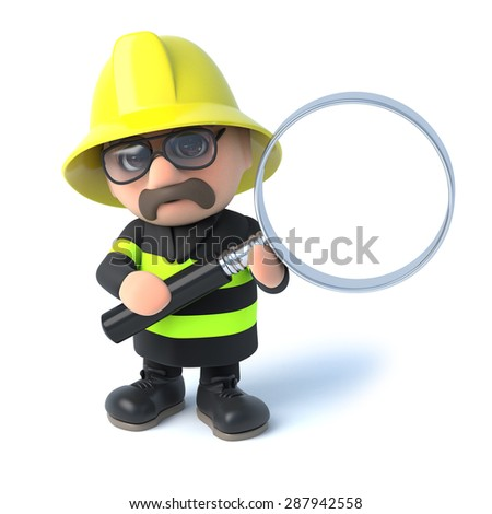 3d render of a fireman holding a magnifying glass - stock photo