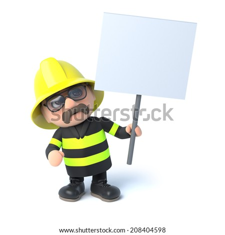 3d render of a fireman holding a placard - stock photo