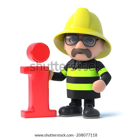 3d render of a fireman stood next to an Information symbol - stock photo