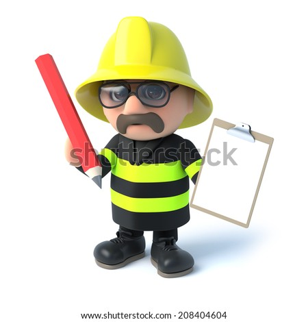 3d render of a fireman with a clipboard and pencil - stock photo