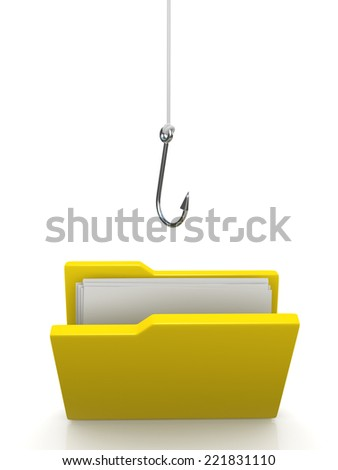 3d render of a fishing hook dangling above folder of documents - stock photo