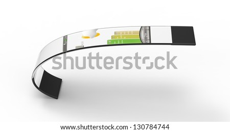 3d render of a flexible mobile bracelet on a white background - stock photo