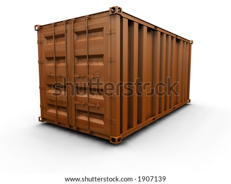 3D render of a freight container - stock photo