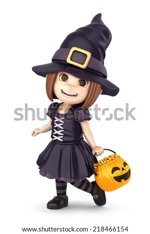 3D render of a girl wearing Halloween witch costume - stock photo