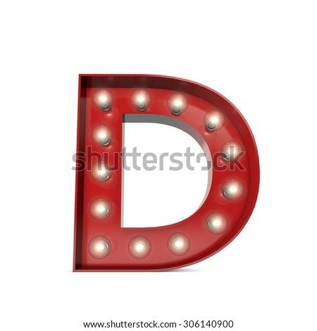 3D render of a glowing letter D broadway theatre style - stock photo