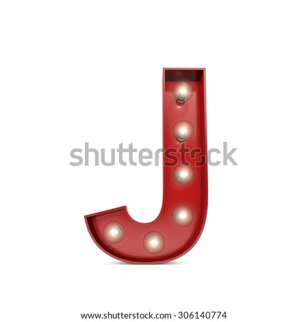 3D render of a glowing letter J broadway theatre style - stock photo