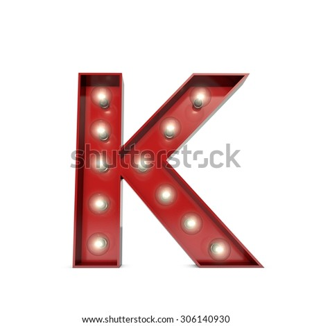 3D render of a glowing letter K broadway theatre style - stock photo