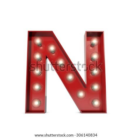 3D render of a glowing letter N broadway theatre style - stock photo