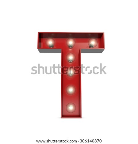 3D render of a glowing letter T broadway theatre style - stock photo