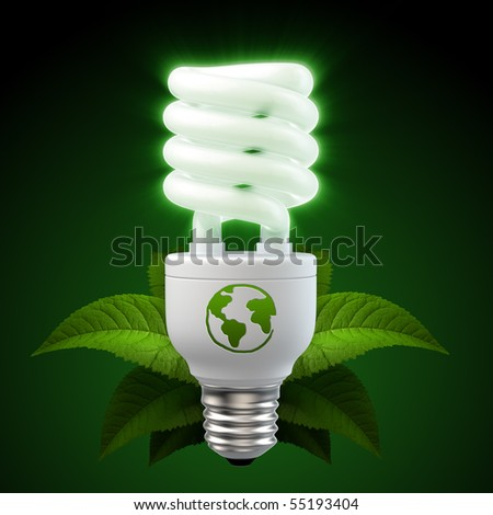 3d render of a glowing white energy saving light bulb, surrounded by leafs - stock photo