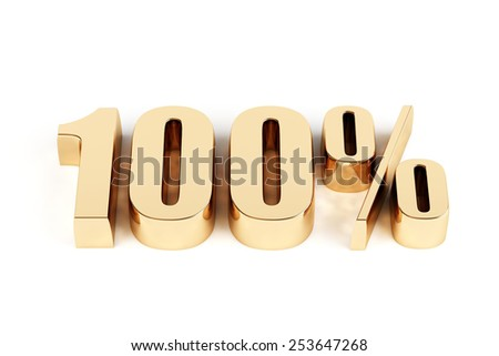 3d render of a gold 100 percent - stock photo