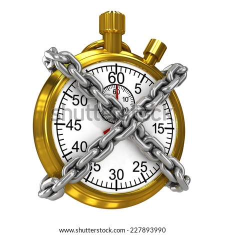 3d render of a gold stopwatch bound by chains - stock photo