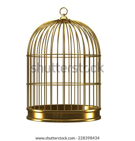 3d render of a golden birdcage - stock photo