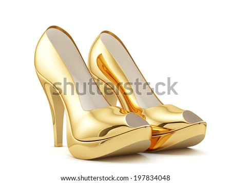 3d render of a golden high heels on white background isolated - stock photo