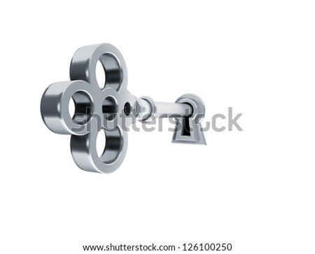 3D render of a golden key on keyhole. - stock photo