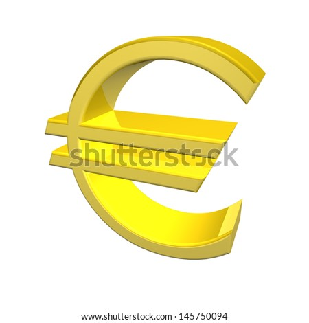 3d render of a golden yellow Euro symbol denoting the currency of the European Union isolated on white background - stock photo