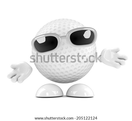 3d render of a golf ball character with arms outstretched - stock photo
