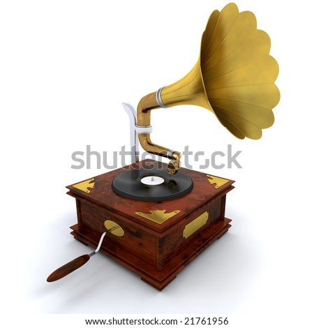 3D render of a gramophone
