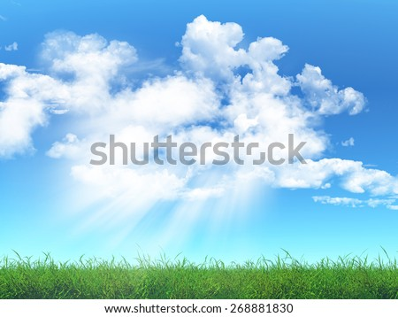 3D render of a grass landscape against a cloudy blue sky - stock photo