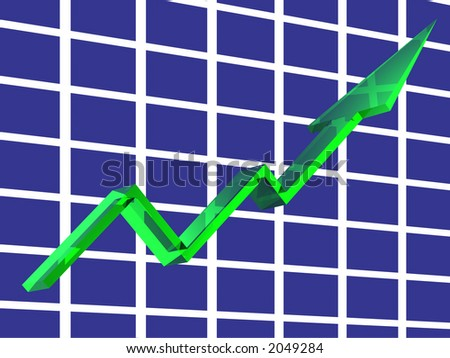 3D render of a green crystal line graph. - stock photo
