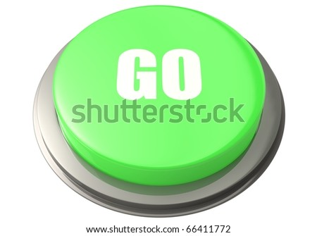 "3D render of a green plastic button labeled ""Go"" isolated against a white background."