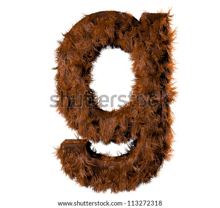 3d render of a hairy g - stock photo