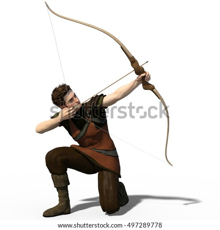 3d render of a handsome archer in medieval outfit isolated on white background