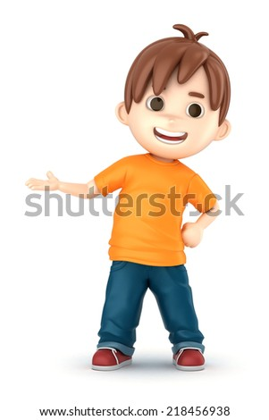 3D render of a happy boy presenting - stock photo