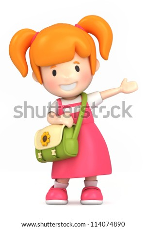 3d render of a happy girl - stock photo