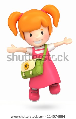 3d render of a happy girl jumping - stock photo