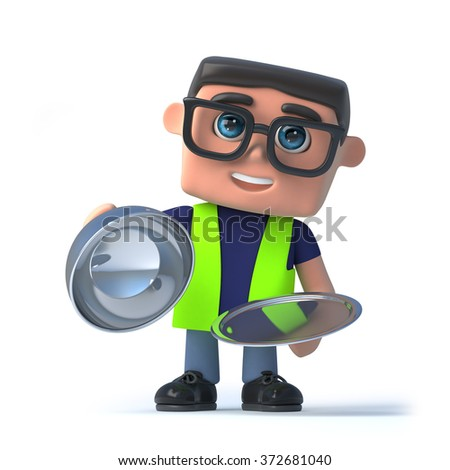3d render of a health and safety worker holding a silver platter and lid