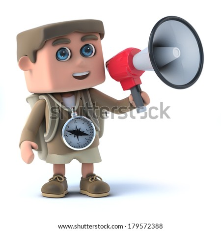 3d render of a hiker with a megaphone