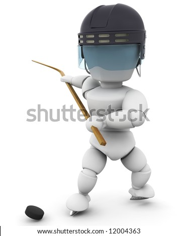 3D render of a hockey player