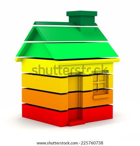 3d render of a house made of multi colored bars in the style of an energy usage chart - stock photo