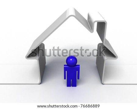 3d render of a house symbol and a man isolated on white