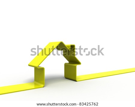 3d render of a house symbol isolated on white - stock photo