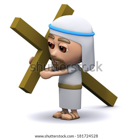 3d render of a Jesus carrying the cross - stock photo