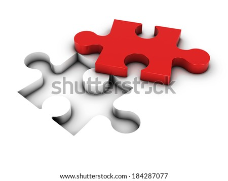 3d render of a jigsaw with one red piece