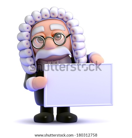 3d render of a judge holding a blank banner