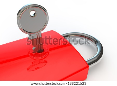 3d render of a key locked in a padlock on a white background