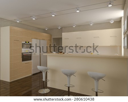 3d render of a kitchen in beige tones