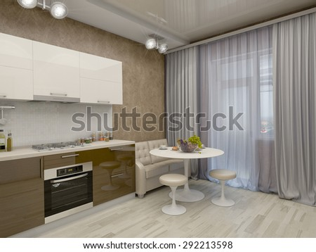3d render of a kitchen in beige tones with brown asence