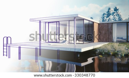 3D render of a lake side summer residence - draft - stock photo