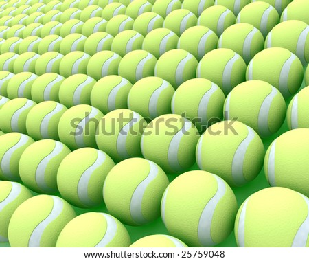 3d render of a large collection of tennis balls