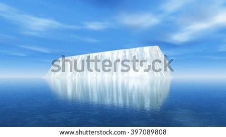 3D render of a large iceberg in the ocean